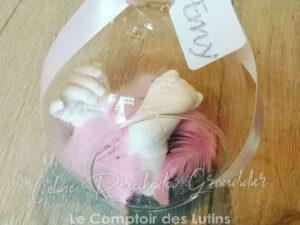 Empreintes enfant, boule en verre